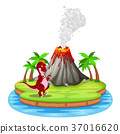 Dinosaur and volcano eruption illustration 37016620