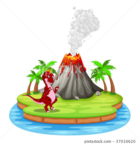 Dinosaur and volcano eruption illustration 37016620