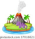 Dinosaur and volcano eruption illustration 37016621