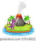 Dinosaur and volcano eruption illustration 37016622