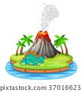 Dinosaur and volcano eruption illustration 37016623