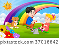 Two Children and dogs playing seesaw in the park  37016642