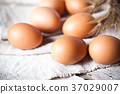 fresh brown eggs and wheat ears 37029007