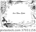 Hand Drawn Frame of Root and Tuberous Vegetables 37031156