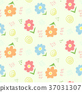 Cute floral kids doodle seamless pattern 37031307