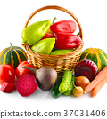 Set of vegetables in  basket isolated on white. 37031406