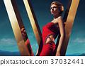 Diamond Dress on Golden Sky 37032441