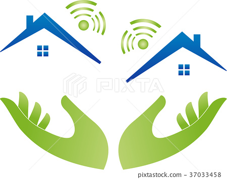 Hands and houses with Wi-Fi, Wi-Fi, Internet 37033458