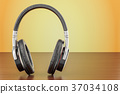 headphones, black, wooden 37034108