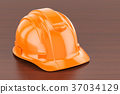 Orange Hard Hat on the wooden table. 3D rendering 37034129