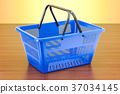 Shopping basket on the wooden table 37034145