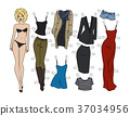 Blonde paper doll 37034956