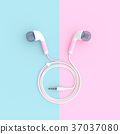 pink earphone on blue and pink pastel  37037080