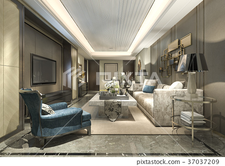 luxury and modern living room and dining room 37037209