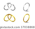 vector set of gold and silver wedding rings 37038868
