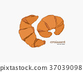 Croissant Doodle, a hand drawn vector. 37039098