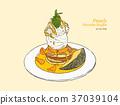 peach pancake with ice-cream, hand draw vector. 37039104