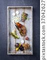 Traditional Japanese dish with Fish Teriyaki  37042627