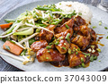 Chicken sweet-sour with Vegetable and white Rice  37043009