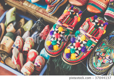 63e58587147 Colorful Moroccan shoes alignment in a shop. - Stock Photo  37044137 ...