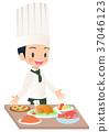 完成烹調的一位男性廚師的例證圖像 37046123
