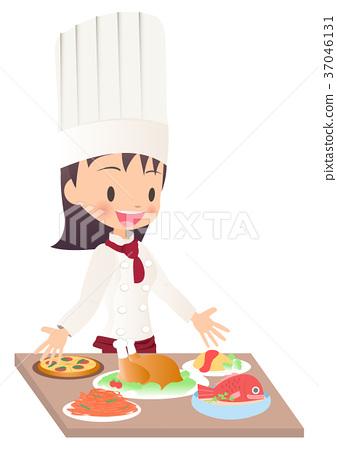 完成烹調的一位女性廚師的例證圖像 37046131