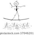 Cartoon of Business Man Walking on Tightrope Rope 37046201