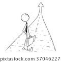 Cartoon of Business Man on the Road to Success 37046227