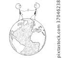 Cartoon of International Business Cooperation 37046238