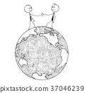 Cartoon of International Business Cooperation 37046239
