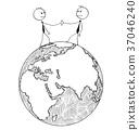 Cartoon of International Business Cooperation 37046240