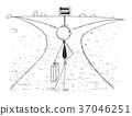 Cartoon of Business Man on Crossroad Making Choice 37046251