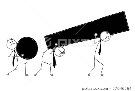 Cartoon Three Businessmen Carry Large Exclamation 37046364