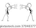 Cartoon of Two Businessmen with Megaphones 37046377