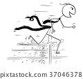 Cartoon of Businessman Running at Finish Line Rac 37046378
