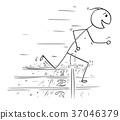 Cartoon of Man Winning the Race Run 37046379