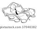 Cartoon of Businessman Lying on Pile of Money 37046382