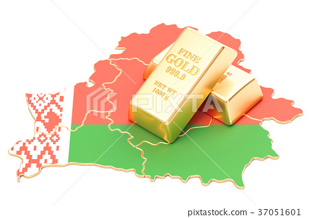 Golden reserves of Belarus concept, 3D rendering 37051601