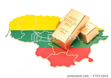 Golden reserves of Lithuania concept, 3D rendering 37051604