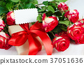 Empty greeting card, red roses and gift box 37051636