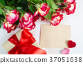 Empty greeting card, red roses and gift box 37051638