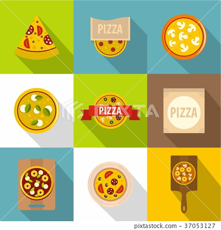 Cooking a pizza icons set, flat style 37053127
