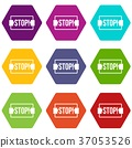 hexahedron, stop, icon 37053526