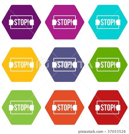Stop icon set color hexahedron 37053526