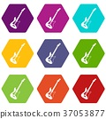 Acoustic guitar icon set color hexahedron 37053877