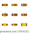 Belt buckle icon set, flat style 37054232