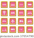 Transportation icons pink 37054790
