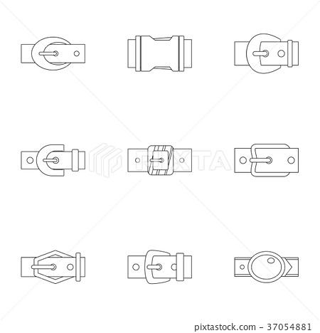 Modern belt buckle icon set, outline style 37054881