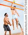 Two smilling male are playing in volleyball in time resting 37057560