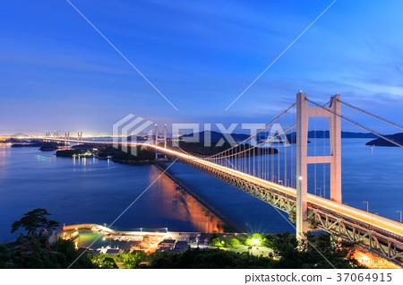 岡山小島_瀨戶大橋的夜景 37064915